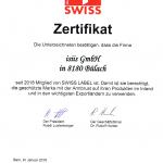 Swiss Label Zertifikat isiis GmbH