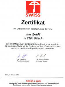Zertifikat SWISS MADE isi-comp